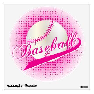Hot Pink Retro Baseball Style Wall Sticker