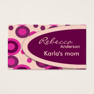 Hot Pink Retro Dots Mommy  Calling Cards