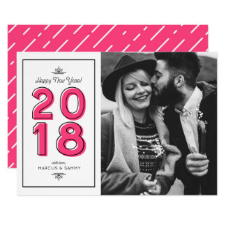 Hot Pink Retro Typography Happy New Year Photo Card