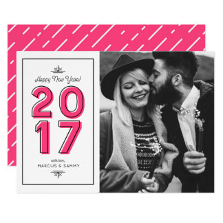 Hot Pink Retro Typography Happy New Year Photo II Card