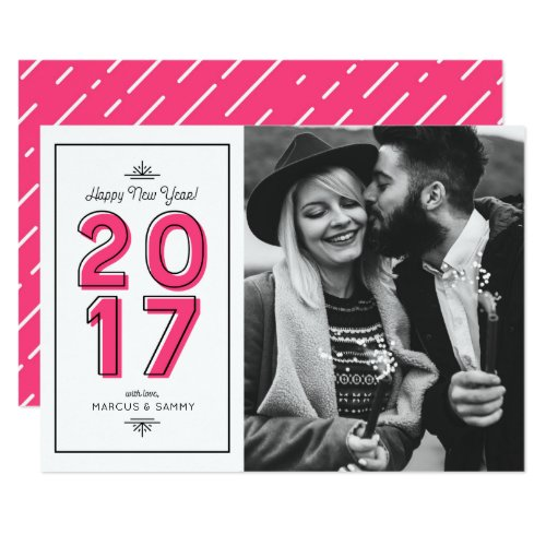 Hot Pink Retro Typography Happy New Year Photo II Card