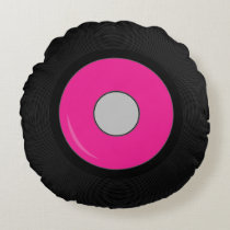 Hot Pink Retro Vinyl Record Disk Round Pillow
