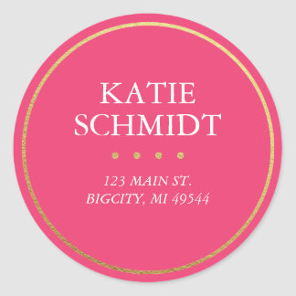 Hot Pink Return Address Label with Faux Gold Foil Classic Round Sticker