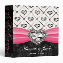 Hot Pink Rhinestone Look Heart Wedding Organizer Binder