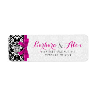 Hot Pink Ribbon Black And White Damasks 2 Label