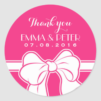 Hot Pink Ribbon Bow Wedding Thank You Sticker
