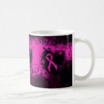 Hot Pink Ribbon Grunge Heart Coffee Mug