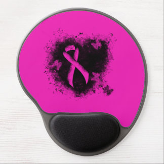 Hot Pink Ribbon Grunge Heart Gel Mouse Pad