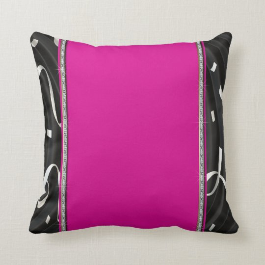Hot Pink & Ribbon Swirls Throw Pillow
