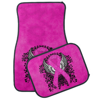 Hot Pink Ribbon with Wings Floor Mat