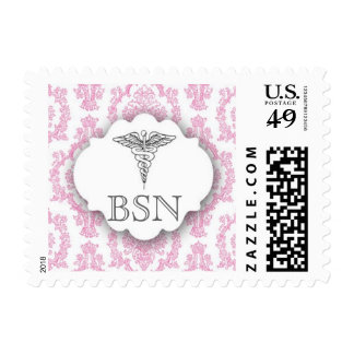 Hot pink RN Damask Caduceus BSN Postage Stamp