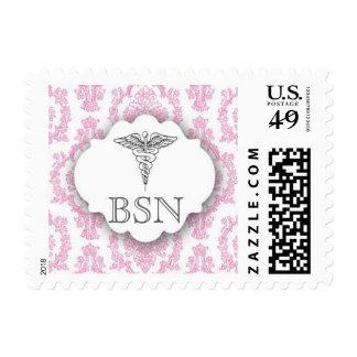 Hot pink RN Damask Caduceus BSN Postage Stamp