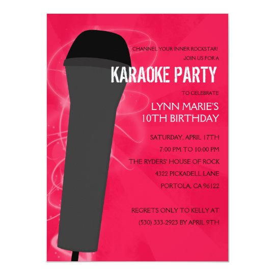 Hot Pink Rock Out Karaoke Birthday Party Card