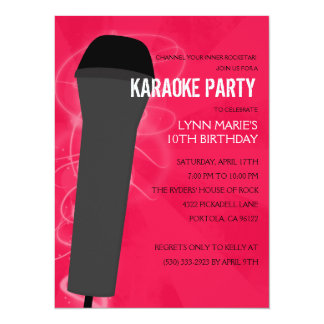 Hot Pink Rock Out Karaoke Birthday Party 5.5x7.5 Paper Invitation Card