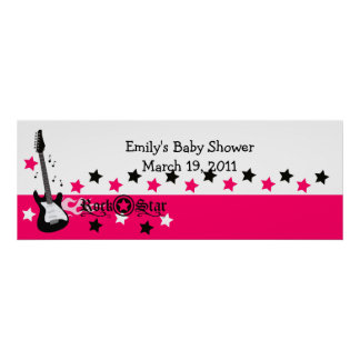 Hot Pink Rock Star Baby Shower /  Birthday Banner Poster