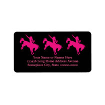Hot Pink Rodeo Horse Riding Country Cowgirl Art Label