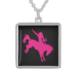 Hot Pink Rodeo Horse Riding Country Cowgirl Art Personalized Necklace