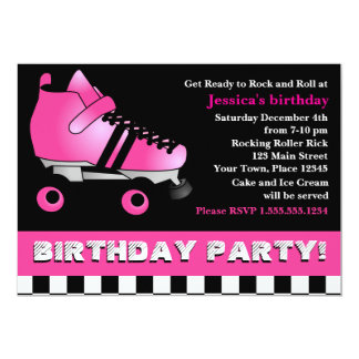 Hot Pink Roller Skate Birthday Party 5x7 Paper Invitation Card