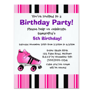 Hot Pink Roller Skate Birthday Party - Pink Stripe Card