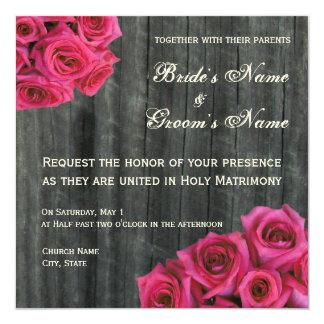 "Hot Pink Rose and Barnwood Wedding Invitation 5.25"" Square Invitation Card"