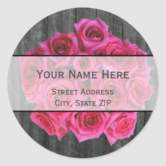 Hot Pink Rose Bouquet & Barnwood Address Label