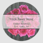 Hot Pink Rose Bouquet & Barnwood Address Label Classic Round Sticker