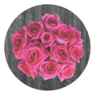 Hot Pink Rose Bouquet & Barnwood Sticker sticker