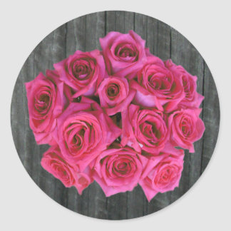Hot Pink Rose Bouquet & Barnwood Sticker