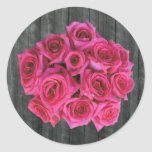 Hot Pink Rose Bouquet & Barnwood Sticker