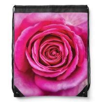 Hot Pink Rose Drawstring Bag
