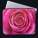 """Hot Pink Rose Laptop Sleeve<br><div class=""""desc"""">A closeup of a large,  hot pink,  fragrant English rose. Unfortunately,  photography cannot capture scent.</div>"""