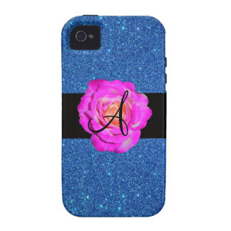 Hot pink rose monogram blue glitter iPhone 4 covers