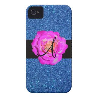 Hot pink rose monogram blue glitter iPhone 4 Case-Mate case