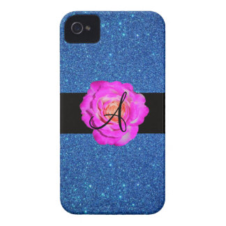 Hot pink rose monogram blue glitter Case-Mate iPhone 4 case