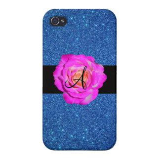 Hot pink rose monogram blue glitter iPhone 4 case