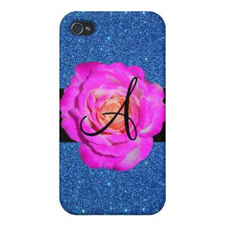 Hot pink rose monogram blue glitter iPhone 4 cases