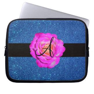 Hot pink rose monogram blue glitter computer sleeves