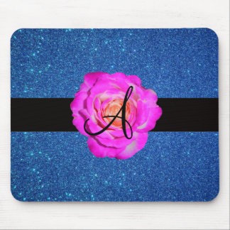 Hot pink rose monogram blue glitter mouse pad