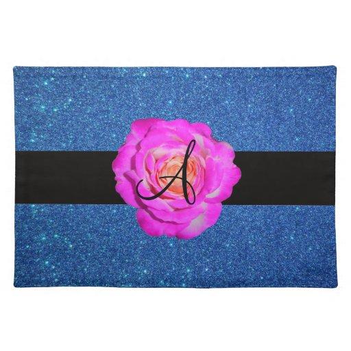 Hot pink rose monogram blue glitter cloth place mat
