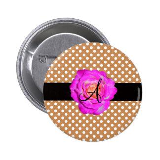 Hot pink rose monogram brown polka dots pinback buttons