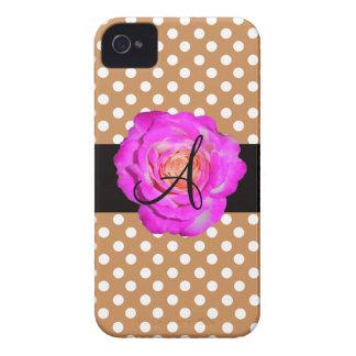 Hot pink rose monogram brown polka dots iPhone 4 cases