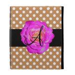Hot pink rose monogram brown polka dots iPad folio case