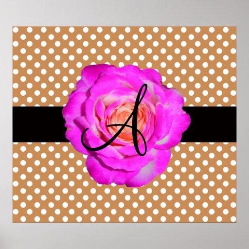 Hot pink rose monogram brown polka dots poster