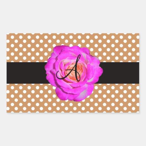 Hot pink rose monogram brown polka dots rectangular sticker