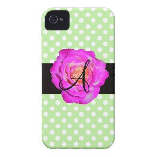 Hot pink rose monogram green polka dots Case-Mate iPhone 4 case