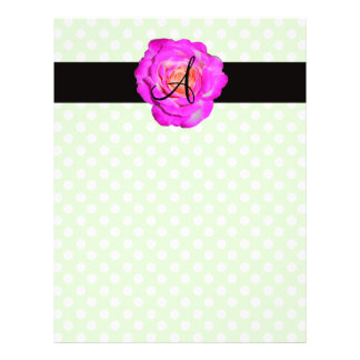 "Hot pink rose monogram green polka dots 8.5"" x 11"" flyer"