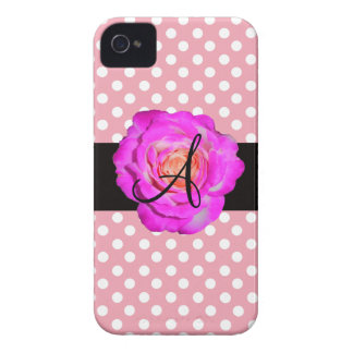 Hot pink rose monogram pink polka dots iPhone 4 cover