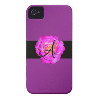Hot pink rose monogram purple iPhone 4 Case-Mate cases