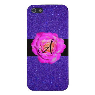Hot pink rose monogram purple glitter covers for iPhone 5