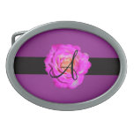 Hot pink rose monogram purple oval belt buckle